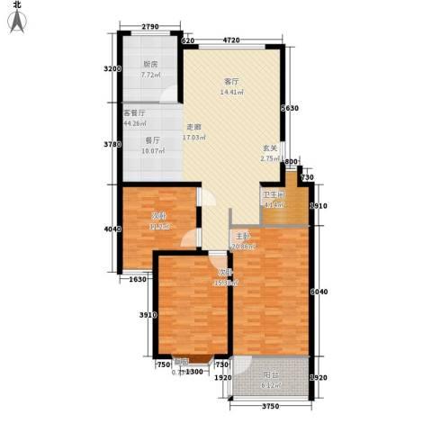 永达时代佳苑3室1厅1卫1厨122.00㎡户型图