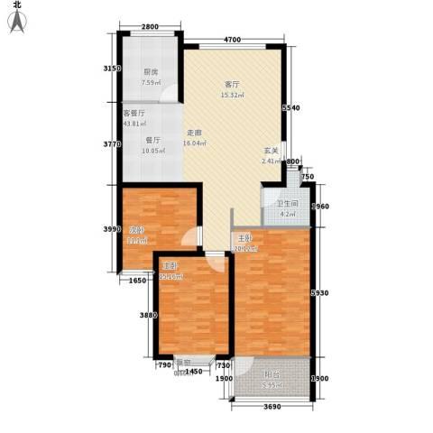 永达时代佳苑3室1厅1卫1厨120.00㎡户型图