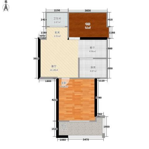 四季康城2室1厅1卫1厨65.00㎡户型图