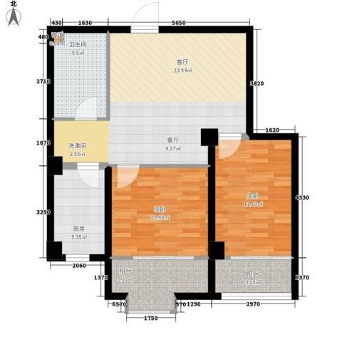 四季康城2室1厅1卫1厨74.00㎡户型图