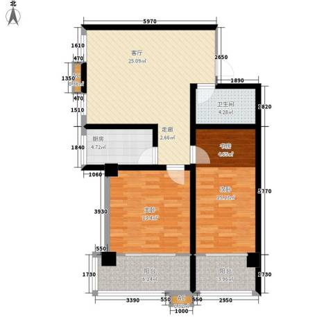 四季康城2室1厅1卫1厨84.00㎡户型图