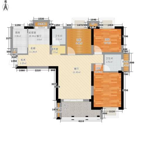 龙旺名城3室0厅2卫1厨101.00㎡户型图