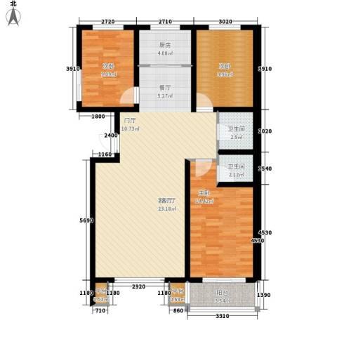 明日星城3室1厅2卫1厨125.00㎡户型图