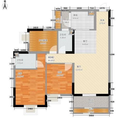 招商花园城2室1厅2卫1厨105.00㎡户型图