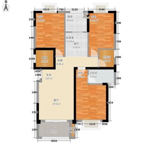 龙旺名城3室0厅2卫1厨105.10㎡户型图