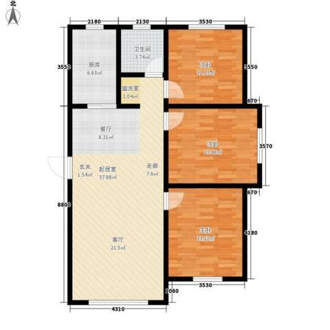 上城左岸3室0厅1卫1厨119.00㎡户型图