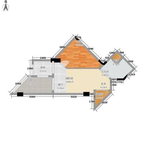 博鳌白马郡1室0厅1卫1厨63.00㎡户型图