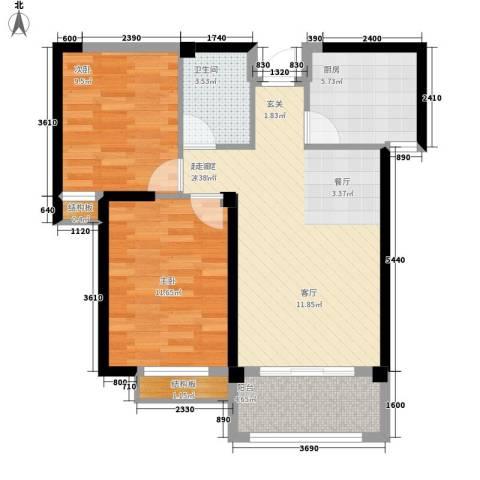 龙旺名城2室0厅1卫1厨66.99㎡户型图