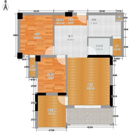 瑞都华庭2室0厅1卫1厨98.00㎡户型图