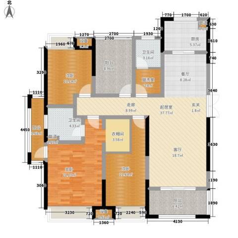 正荣财富中心3室0厅2卫1厨143.00㎡户型图