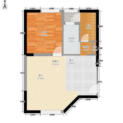 东一国际1室1厅1卫1厨60.00㎡户型图