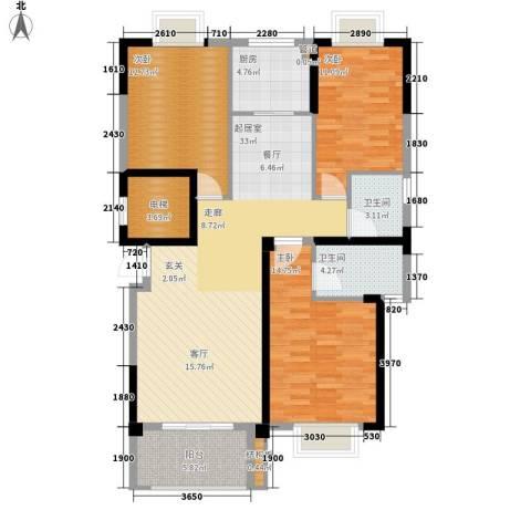 龙旺名城3室0厅2卫1厨134.00㎡户型图