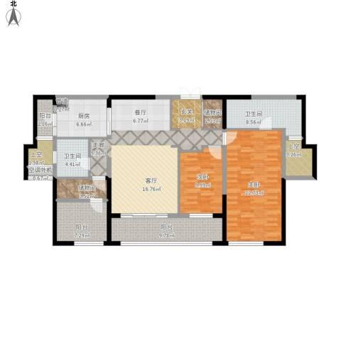万科紫台2室1厅2卫1厨172.00㎡户型图