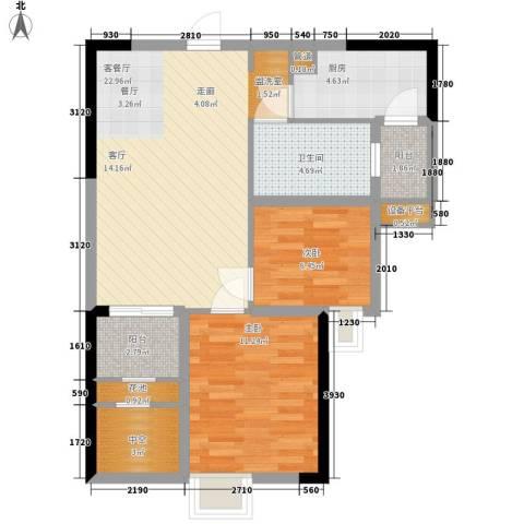 招商花园城2室1厅1卫1厨74.00㎡户型图