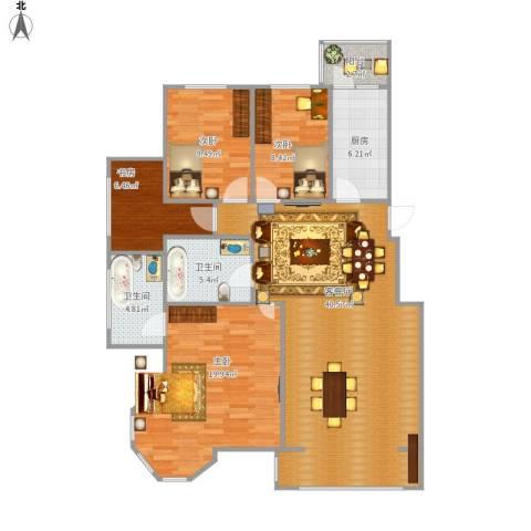 漫步巴黎4室1厅2卫1厨140.00㎡户型图