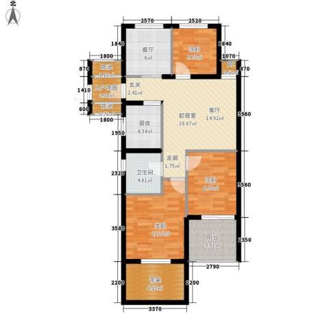云峰苑3室1厅1卫1厨88.00㎡户型图
