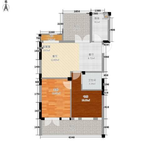 保亿・风景沁园2室0厅1卫1厨75.00㎡户型图