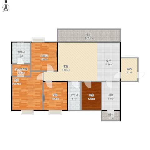 招商花园城4室1厅2卫1厨151.00㎡户型图