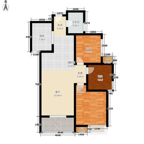 天香心苑3室0厅1卫1厨104.00㎡户型图