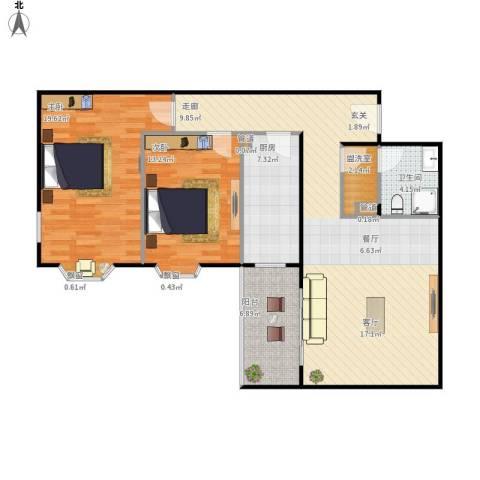 西华经典2室1厅1卫1厨120.00㎡户型图
