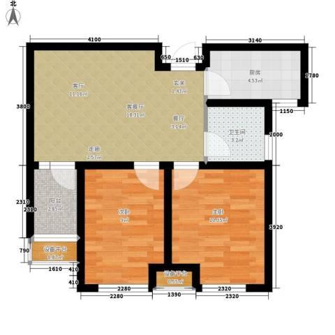宏泰·美树2室1厅1卫1厨71.00㎡户型图