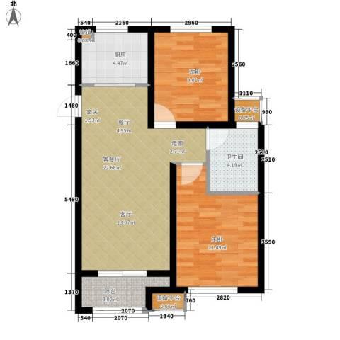 宏泰·美树2室1厅1卫1厨80.00㎡户型图