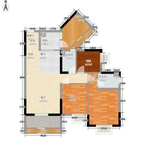 招商花园城3室1厅2卫1厨107.00㎡户型图