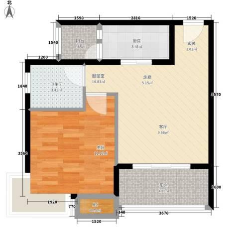 升伟新意境1室0厅1卫1厨42.32㎡户型图