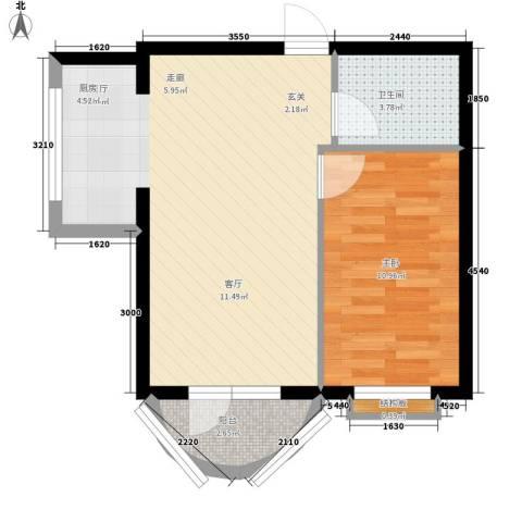 东湾假日1室1厅1卫0厨60.00㎡户型图