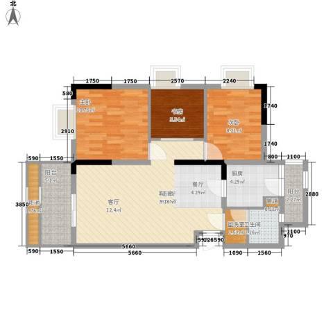 招商花园城3室1厅1卫1厨90.00㎡户型图