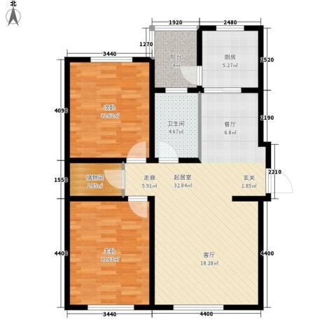 上城左岸2室0厅1卫1厨106.00㎡户型图