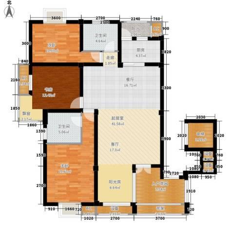 日月城三期中央世家3室0厅2卫1厨138.00㎡户型图