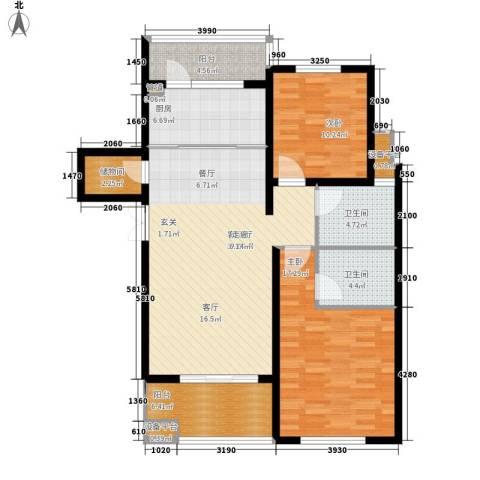 邦泰中央花城2室1厅2卫1厨102.00㎡户型图