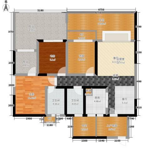 蓝光凯丽香江2室0厅2卫1厨114.09㎡户型图