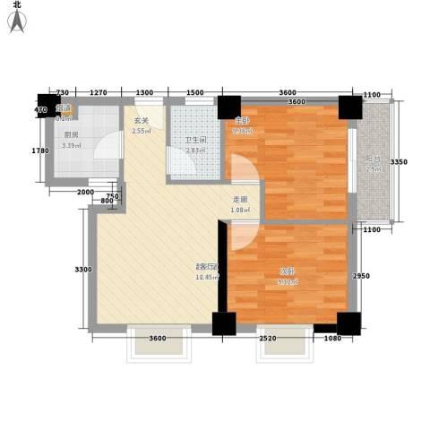 水岸新城2室0厅1卫1厨64.00㎡户型图
