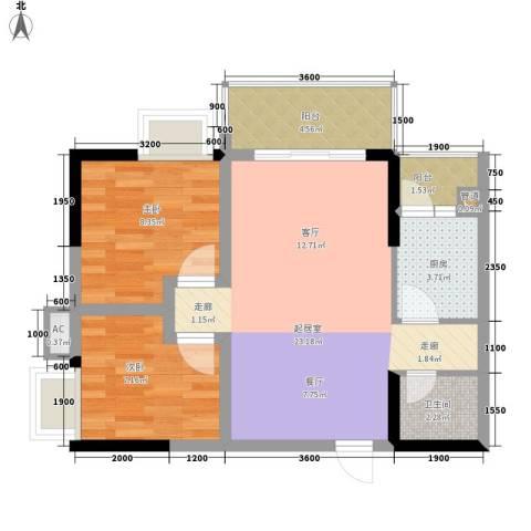 上方新人居2室0厅1卫1厨54.00㎡户型图