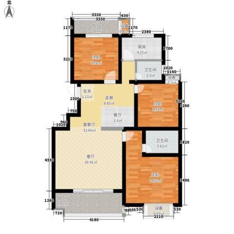 江尚天地3室1厅2卫1厨125.00㎡户型图