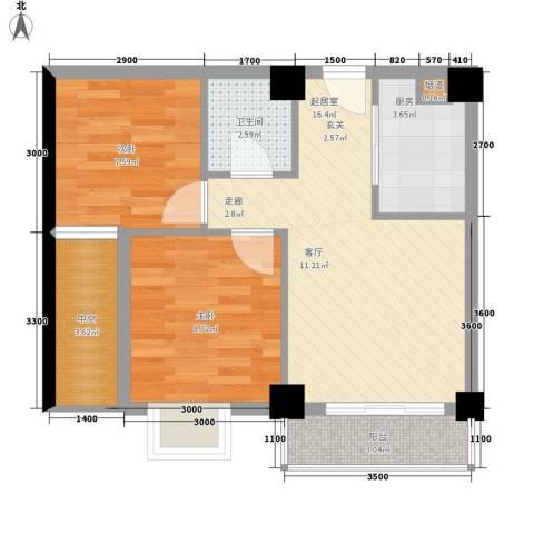 水岸新城2室0厅1卫1厨67.00㎡户型图