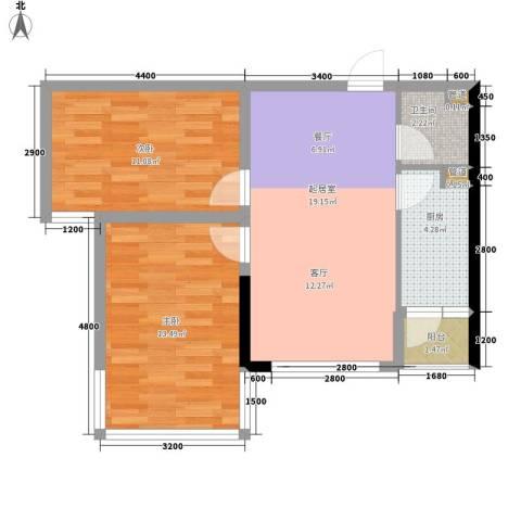 上方新人居2室0厅1卫1厨59.00㎡户型图