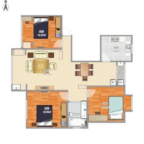君莲小区E区3室1厅1卫1厨116.00㎡户型图