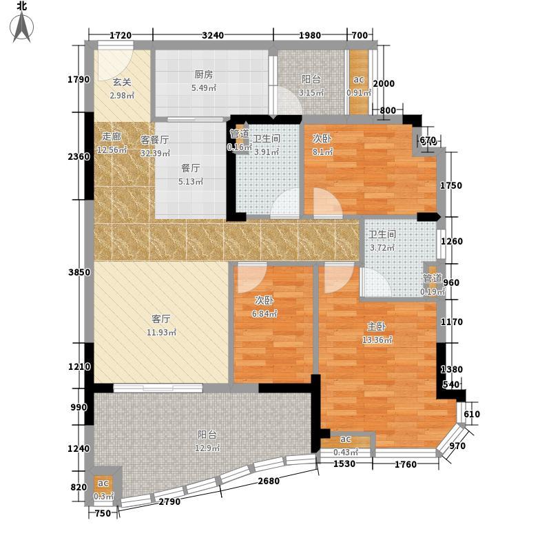 碧桂园清泉城110.00㎡花园里二期J452-5栋304单位户型3室2厅
