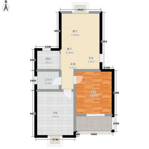 西航花园2室1厅1卫1厨84.00㎡户型图