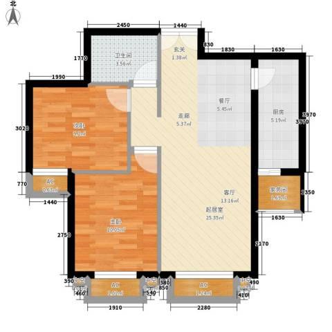 罗马世纪城2室0厅1卫1厨81.00㎡户型图