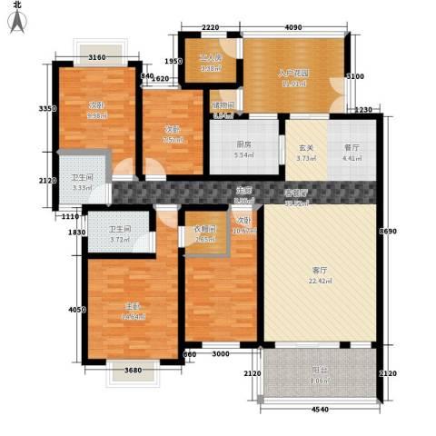奔力乡间城4室1厅2卫1厨141.00㎡户型图