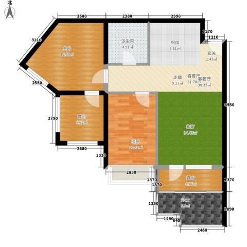 山海国际2室1厅1卫0厨107.00㎡户型图