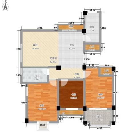 日月城三期中央世家3室0厅1卫1厨117.00㎡户型图