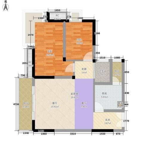 典雅龙海港湾2室0厅1卫1厨81.00㎡户型图