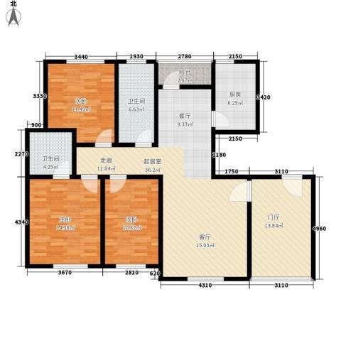 上城左岸3室0厅2卫1厨150.00㎡户型图