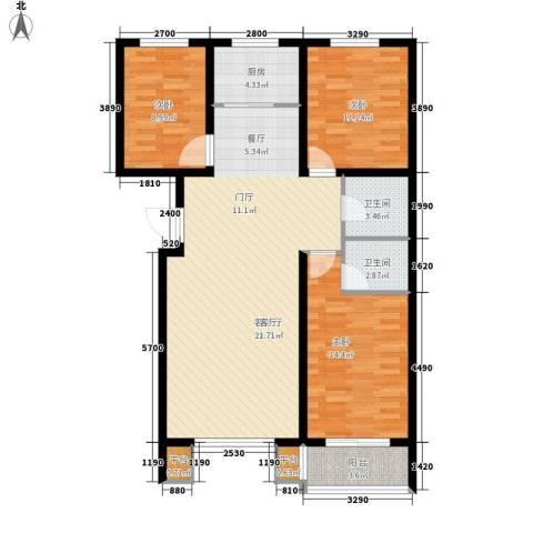 明日星城3室1厅2卫1厨126.00㎡户型图