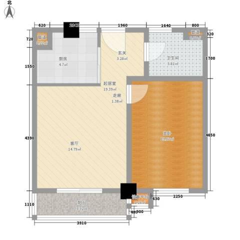 上城左岸1室0厅1卫1厨59.00㎡户型图